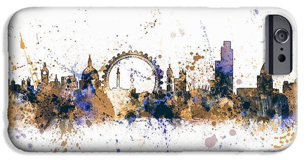 Paint Digital iPhone Cases - London England Skyline iPhone Case by Michael Tompsett
