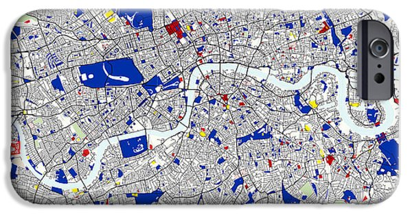 Briton iPhone Cases - London Piet Mondrian Style City Street Map Art iPhone Case by Celestial Images