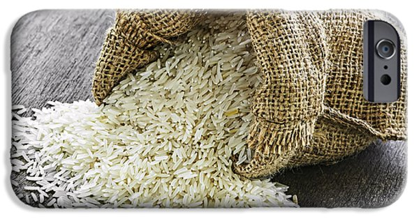 Dried iPhone Cases - Long grain rice in burlap sack iPhone Case by Elena Elisseeva