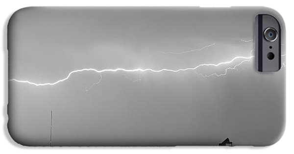 Epic iPhone Cases - Long Lightning Bolt Strike Across Oil Well Country Sky iPhone Case by James BO  Insogna