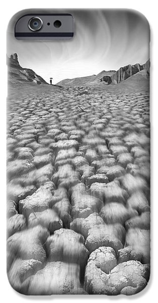 Cracks Digital Art iPhone Cases - Long Walk iPhone Case by Mike McGlothlen