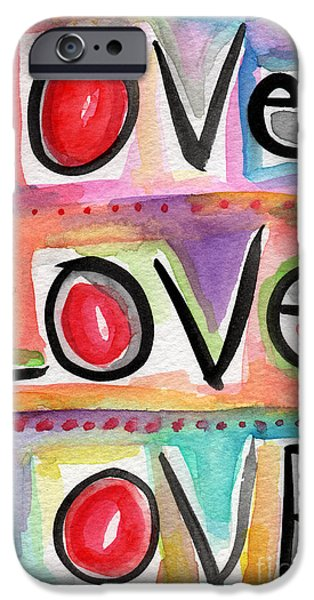 Pop Mixed Media iPhone Cases - Love iPhone Case by Linda Woods