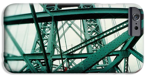 Built Structure iPhone Cases - Low Angle View Of A Suspension Bridge iPhone Case by Panoramic Images