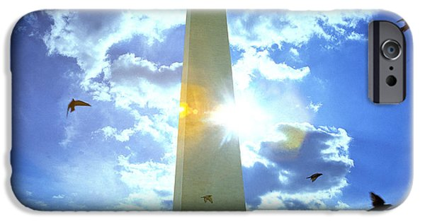 Patriotism iPhone Cases - Low Angle View Of The Washington iPhone Case by Panoramic Images