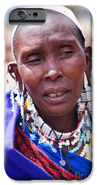 East Village iPhone Cases - Maasai woman portrait in Tanzania iPhone Case by Michal Bednarek