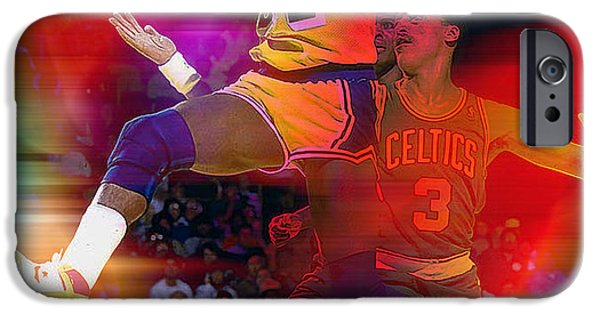 Magic Johnson iPhone Cases - Magic Johnson iPhone Case by Marvin Blaine