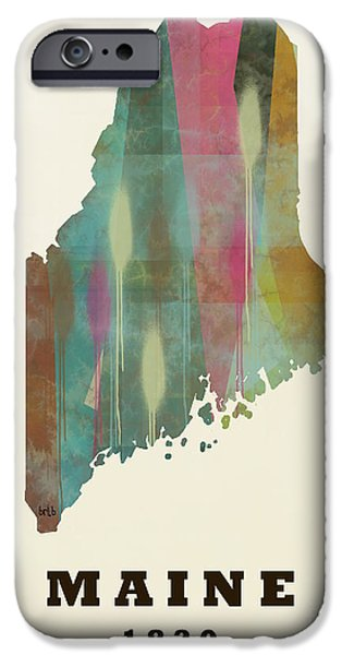 Maine Landscapes Paintings iPhone Cases - Maine state map modern iPhone Case by Bri Buckley
