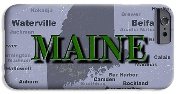 Lewiston iPhone Cases - Maine State Pride Map Silhouette  iPhone Case by Keith Webber Jr