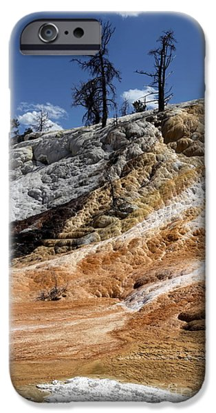 Mammoth Terrace iPhone Cases - Mammoth hot springs iPhone Case by Sophie Vigneault