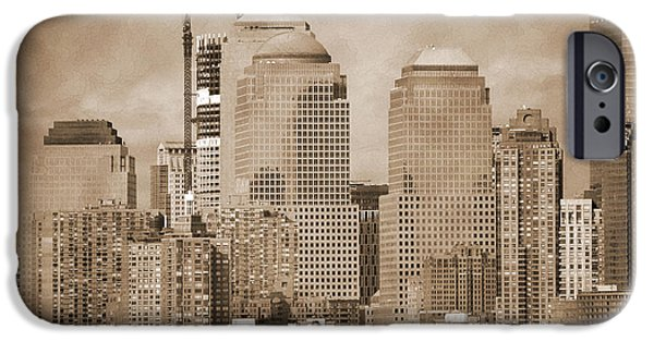 Hudson River iPhone Cases - Manhattan buildings vintage iPhone Case by RicardMN Photography