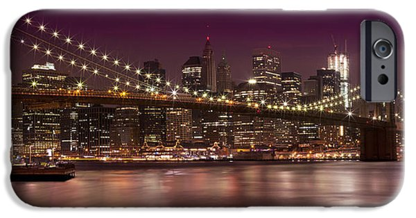 Facade iPhone Cases - Manhattan by Night iPhone Case by Melanie Viola