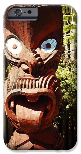 Maori carving iPhone Case by Les Cunliffe