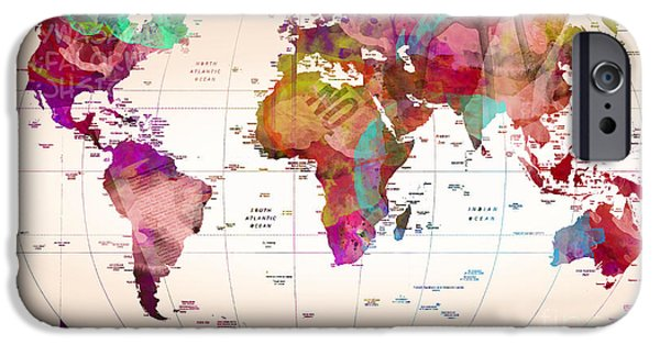 Animation iPhone Cases - Map Of The World iPhone Case by Mark Ashkenazi