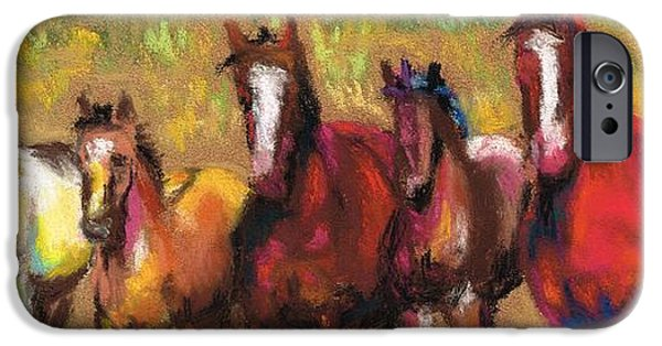 Horse iPhone Cases - Mares and Foals iPhone Case by Frances Marino