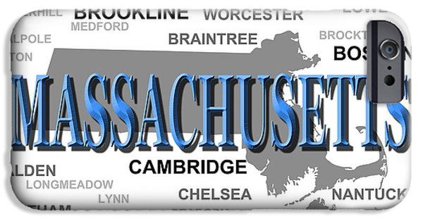 Map Of Boston iPhone Cases - Massachusetts State Pride Map Silhouette  iPhone Case by Keith Webber Jr