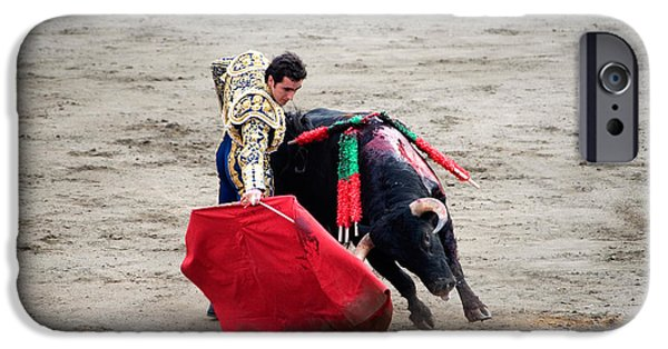 One iPhone Cases - Matador And A Bull In A Bullring, Lima iPhone Case by Panoramic Images