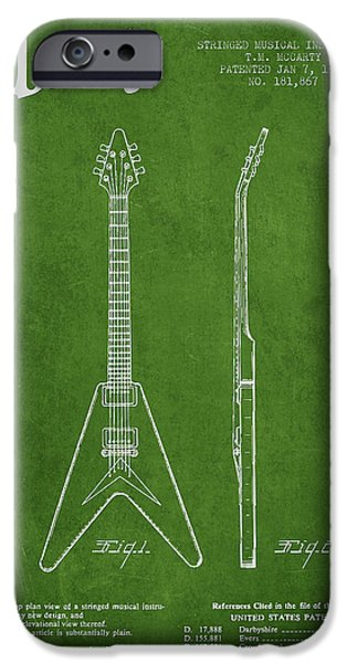 Mccarty Gibson Electric guitar patent Drawing from 1958 - Green iPhone Case by Aged Pixel