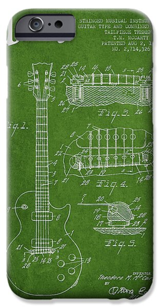 Mccarty Gibson Les Paul guitar patent Drawing from 1955 - Green iPhone Case by Aged Pixel