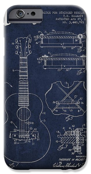 Mccarty Gibson stringed instrument patent Drawing from 1969 - Navy Blue iPhone Case by Aged Pixel