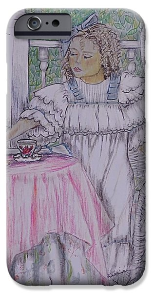 Tea Party Drawings iPhone Cases - McKennas Tea Party iPhone Case by Linda Simon