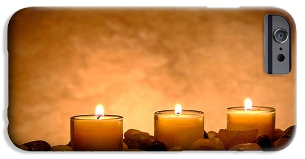 Pillars iPhone Cases - Meditation Candles iPhone Case by Olivier Le Queinec