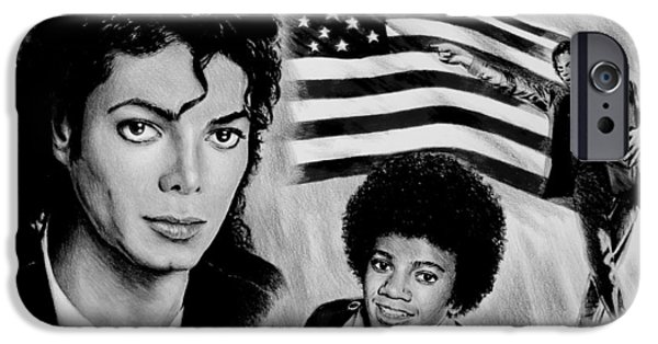 All American Drawings iPhone Cases - Michael Jackson American Legend iPhone Case by Andrew Read
