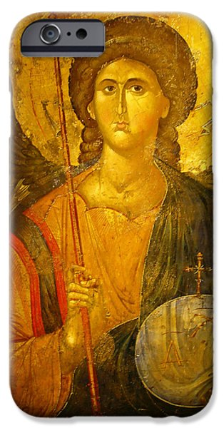 Seraphim Angel iPhone Cases - Michael the Archangel iPhone Case by Ellen Henneke