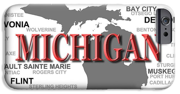 Arbor iPhone Cases - Michigan State Pride Map Silhouette  iPhone Case by Keith Webber Jr
