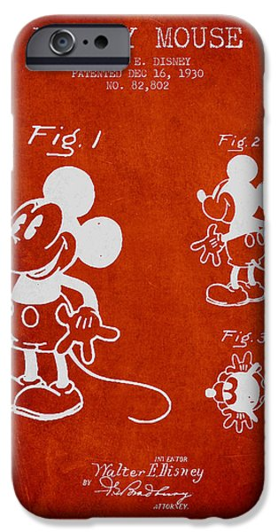 Animation iPhone Cases - Mickey Mouse patent Drawing from 1930 iPhone Case by Aged Pixel