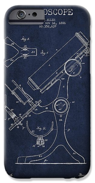 Microscope iPhone Cases - Microscope Patent Drawing From 1886 - Navy Blue iPhone Case by Aged Pixel