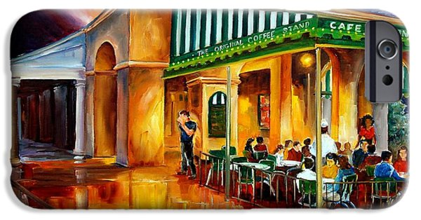 French Quarter Paintings iPhone Cases - Midnight at the Cafe Du Monde iPhone Case by Diane Millsap