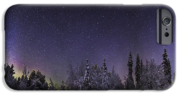 Wintertime iPhone Cases - Milky Way Galaxy With Aurora Borealis iPhone Case by Panoramic Images