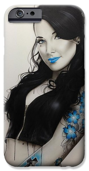 Tattoo iPhone Cases - Miss Metal iPhone Case by Christian Chapman Art