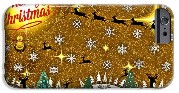 Christmas Greeting iPhone Cases - Mod Cards - Reindeer Games - Merry Christmas iPhone Case by Aurelio Zucco