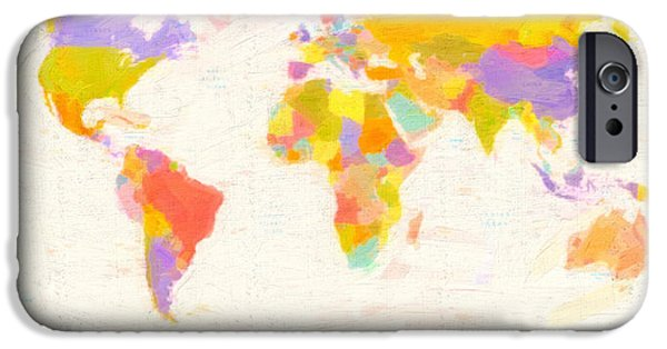 Europa Paintings iPhone Cases - Modern World Map iPhone Case by Celestial Images