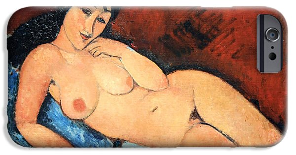 Cora Wandel iPhone Cases - Modiglianis Nude On A Blue Cushion iPhone Case by Cora Wandel