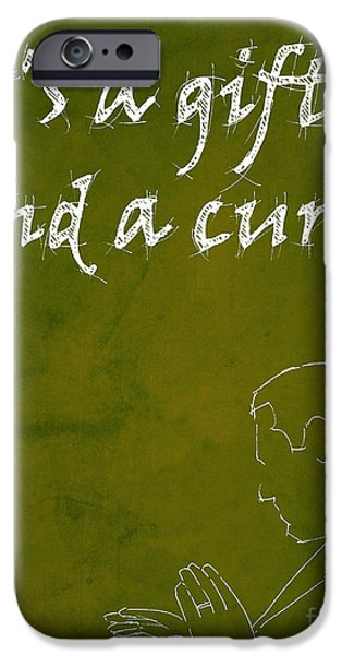 Drama Drawings iPhone Cases - Monk Quote - Its a gift and a curse iPhone Case by Pablo Franchi