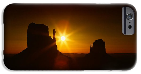 Nation Pyrography iPhone Cases - Monument Valley Landscape iPhone Case by Katrina Brown