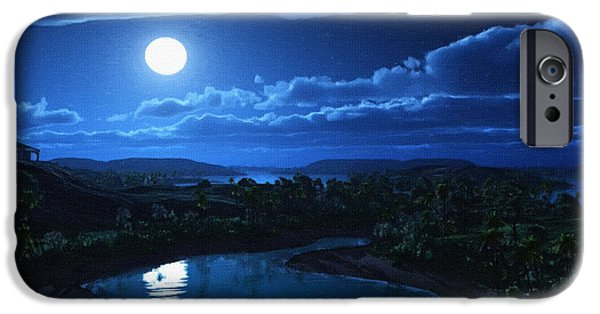 Screen Print iPhone Cases - Moon Artwork Poster iPhone Case by Victor Gladkiy