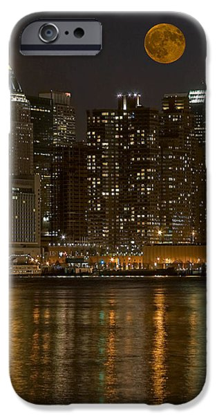 Hudson River iPhone Cases - Moonrise Over Manhattan iPhone Case by Susan Candelario