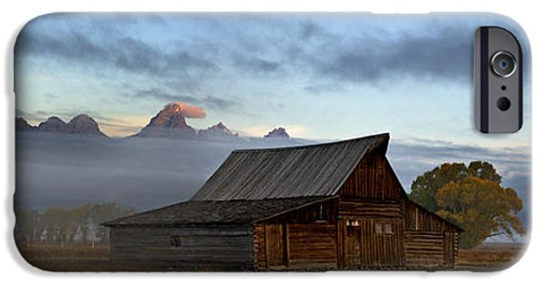 Old Barn iPhone Cases - Morning at the South Moulton Barn Grand Tetons iPhone Case by Gary Langley