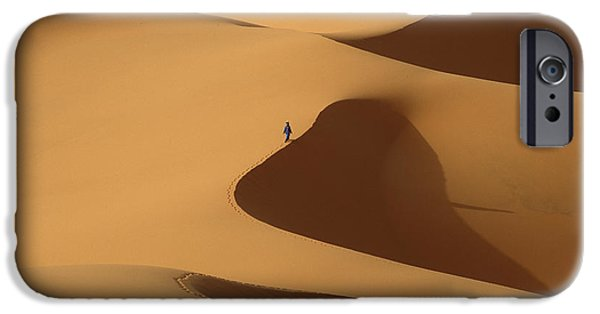 Simple Beauty In Colors iPhone Cases - Morocco, Berber Blue Man Walking iPhone Case by Ian Cumming