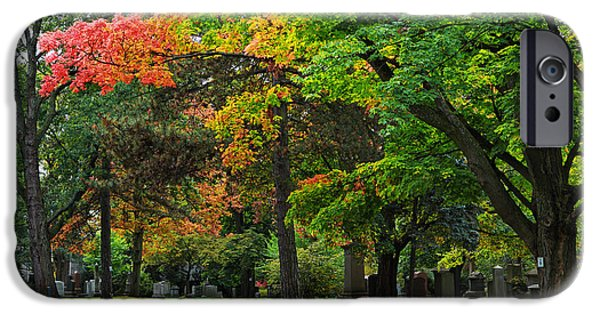 Graveyard Road iPhone Cases - Mount Pleasant Cemetery iPhone Case by Charline Xia