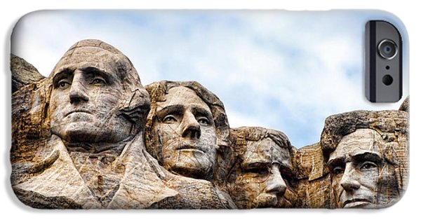 Lincoln iPhone Cases - Mount Rushmore iPhone Case by Olivier Le Queinec