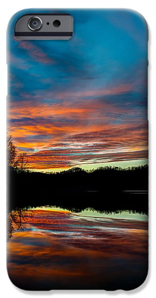 Mountain Pyrography iPhone Cases - Mountain lake sunset iPhone Case by Anthony Heflin