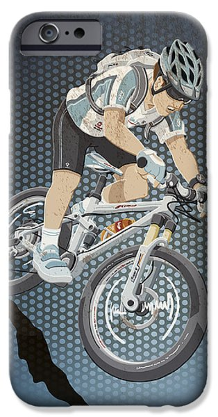 Cycling iPhone Cases - Mountainbike Sports Action Grunge Color iPhone Case by Frank Ramspott