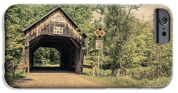 Chelsea iPhone Cases - Moxley Covered Bridge Chelsea Vermont iPhone Case by Edward Fielding
