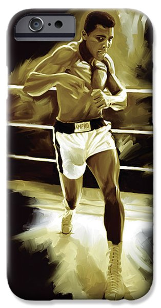 Sport Portraits Mixed Media iPhone Cases - Muhammad Ali Boxing Artwork iPhone Case by Sheraz A
