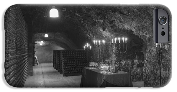 Glass Table Reflection iPhone Cases - Napa Valley Wine Cave iPhone Case by Mountain Dreams