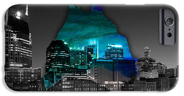 Nashville Tennessee iPhone Cases - Nashville Skyline and Map Watercolor iPhone Case by Marvin Blaine